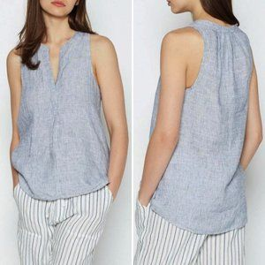 Joie Aruna 100% Linen Split Neck Tank Top Navy XS